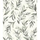 RoomMates Magnolia Home Self-Adhesive Wallpaper - Olive Branch - 198-in x 20.5-in - Grey