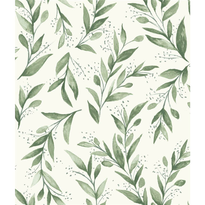 RoomMates Magnolia Home Self-Adhesive Wallpaper - Olive Branch - 198-in x 20.5-in - Green