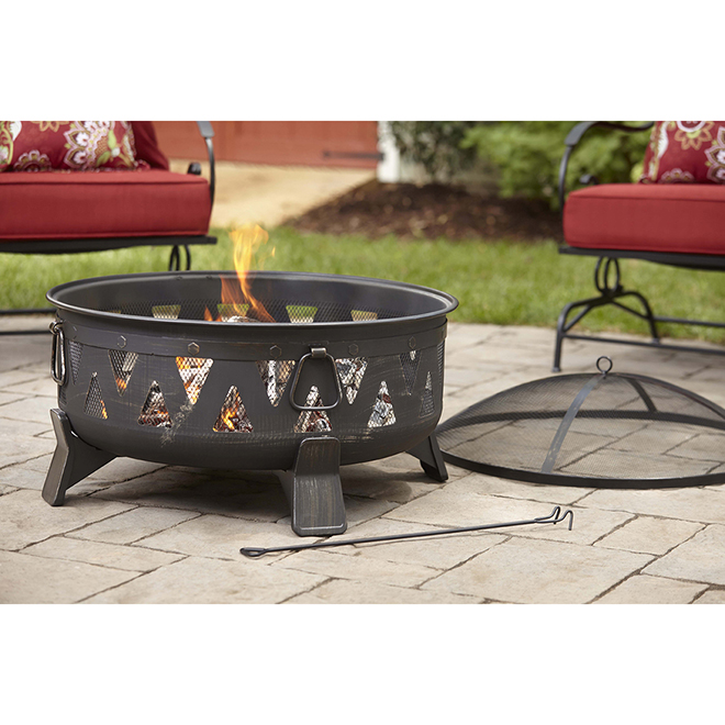 Style Selections Wood-Burning Fire Pit - Circular - 30-in - Black
