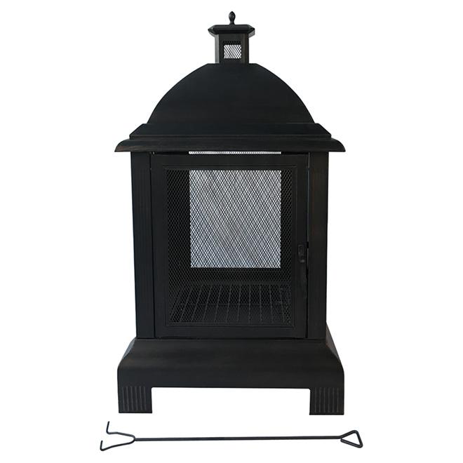 "Outdoor Fireplace - 24"" x 24"" x 44"" - Steel - Black"