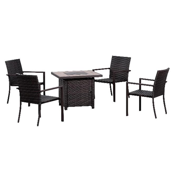 """Ensemble de foyer extérieur avec 4 chaises, 32"""", 50 000 BTU"""