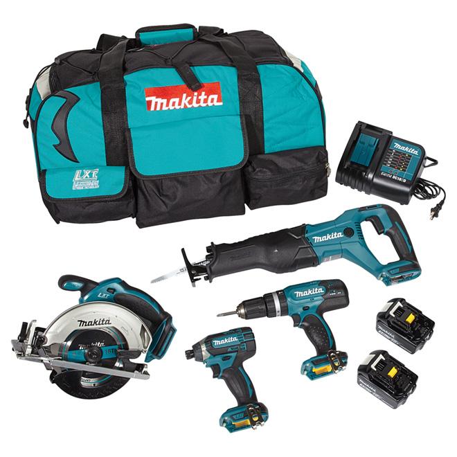 Ensemble 4 outils sans fil, lithium-ion 18 V LXT, sarcelle