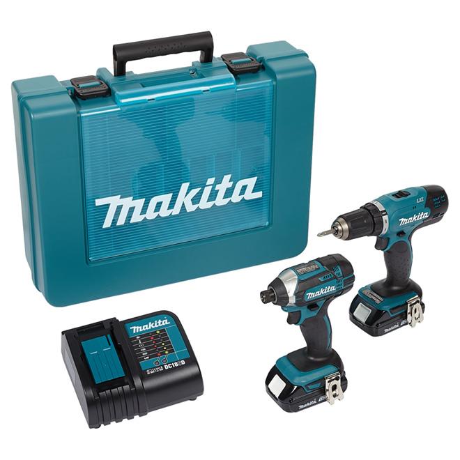 Ensemble de 2 outils sans fil par Makita, lithium-ion 18 V, sarcelle