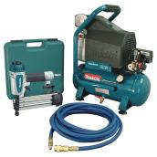 2 HP Compressor and Nailing Gun Kit - 4 Pieces