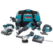 Set of 6 Cordless Tools - 18 V Lithium-ion