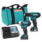 Makita Cordless 12 V Max CXT Tool Combo Kit - Drill/Driver and Impact Driver