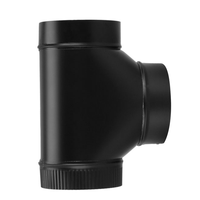 "Tee Connector - Steel - 7"" x 24 cal - Black"
