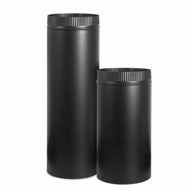 """Stove Pipe - 24-Gauge Steel - 8"""" x 12"""" - Black"""