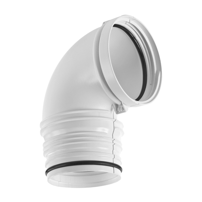 White 90° Rigid Dryer Elbow