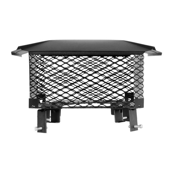 Chapeau de cheminée ajustable, acier, noir