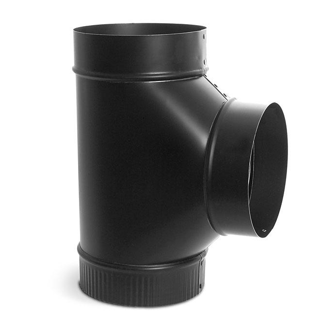 Black 7'' Diameter Steel Tee Connector