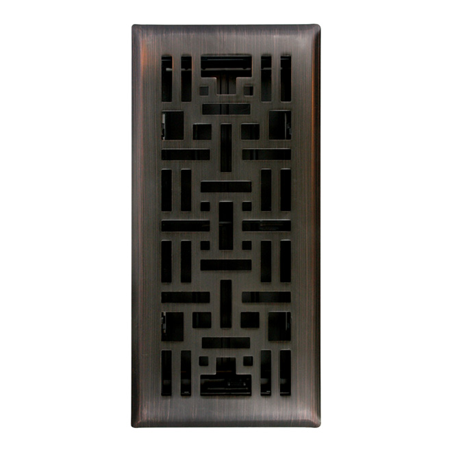 "Floor Register - 4"" x 10"" - Arts Craft - Oil Rubbed Bronze"