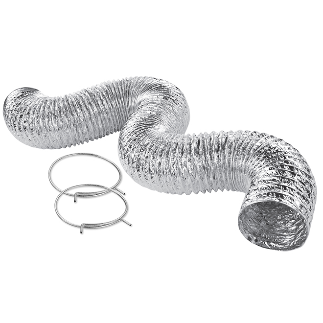 "Conduit flexible en aluminium avec collets, 4"" x 8'"