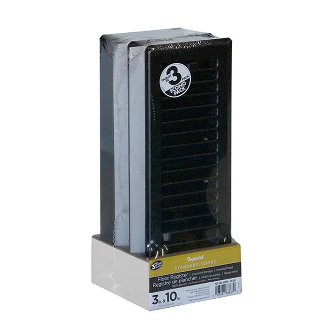 """Floor Register - Steel - 3"""" x 10"""" - Matte Black - 3/Pk"""