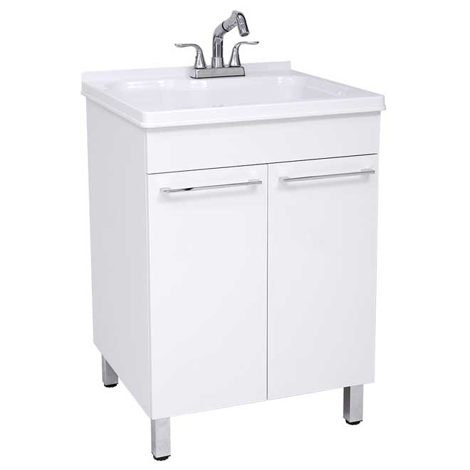 Laundry Tub Kit with Faucet and Cabinet - White