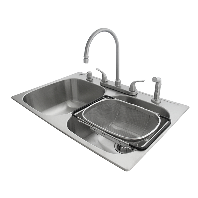 Double Kitchen Sink with Faucet and Colander, Stainless Steel