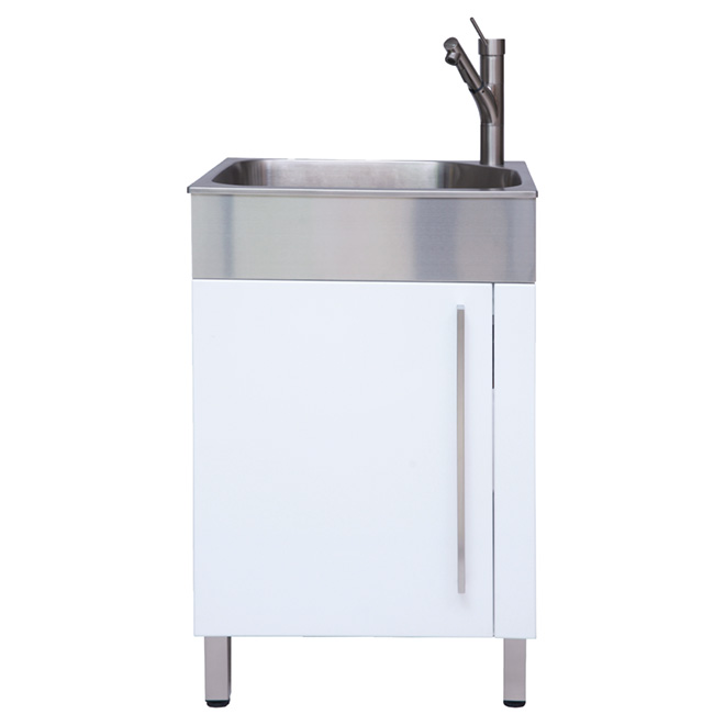 """Stainless Steel Laundry Sink with Cabinet - 10"""" - White"""