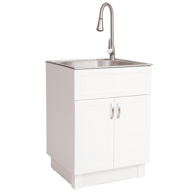 Laundry Sink - 2 Doors - Pvc - 26'' - White/Chrome