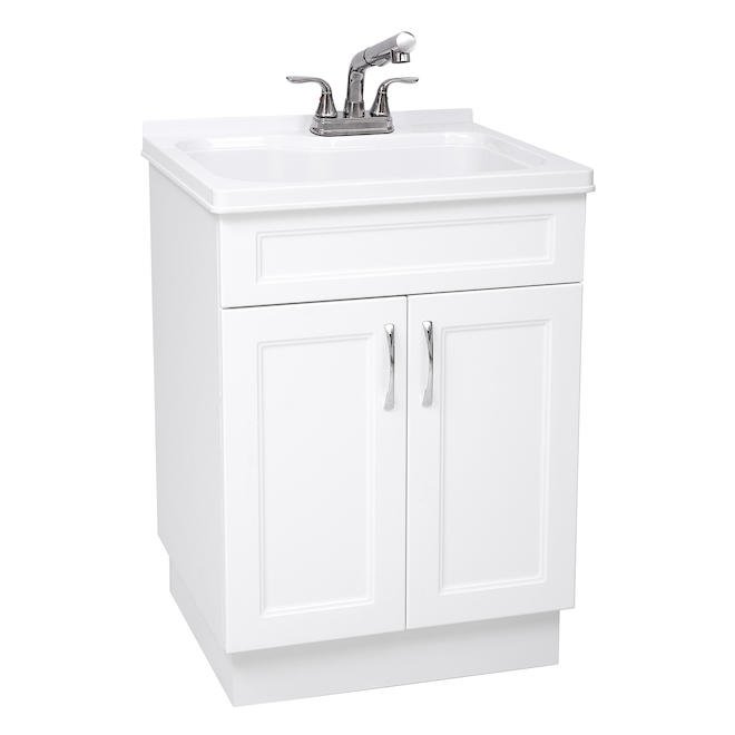 Laundry Cabinet - Sink and Faucet - 24 x 21 x 34-in - White