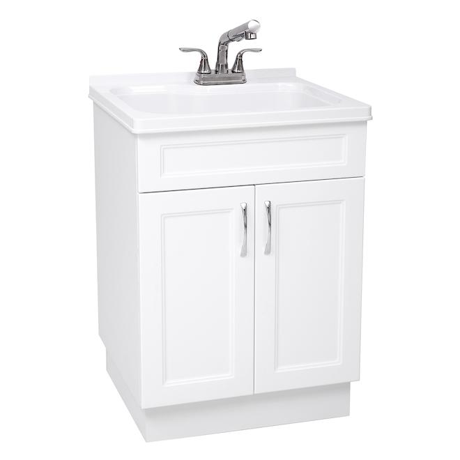 Cuve à lessive, évier et robinet, 24 x 21 x 34 po, blanc