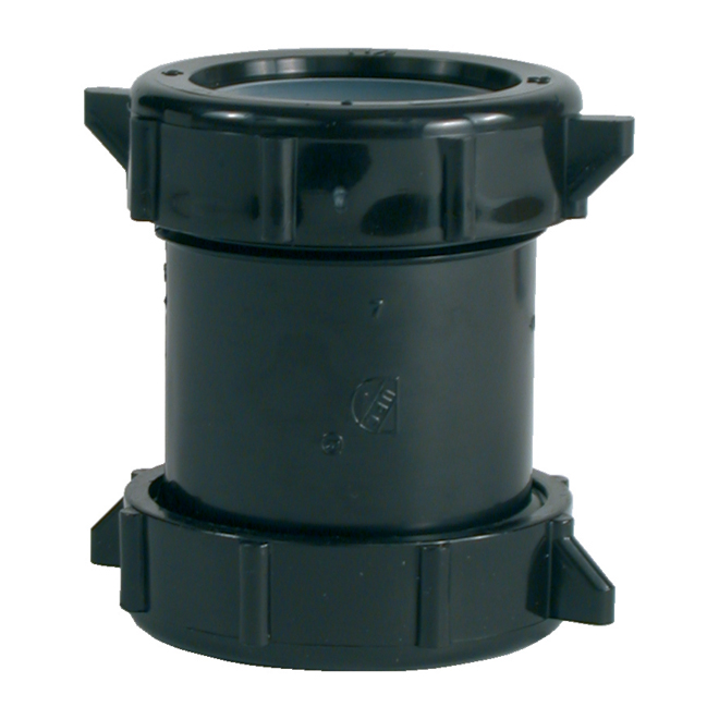 "Coupling with Nuts - ABS - 1 1/2"" - Black"