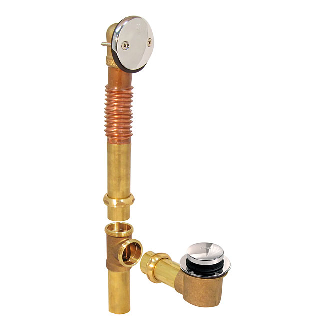 "Bath Drain Kit - 1.5"" x 16"" - Brass - Polished Chrome"