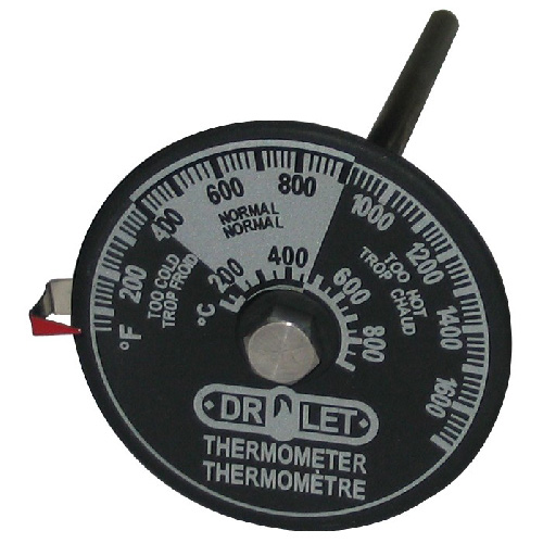 Thermometer for Double Wall Stove Pipe - Black