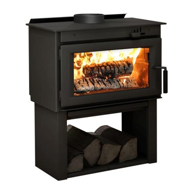 "Contemporary Wood Stove - 34"" x 26.6"" - Steel - Black Metal"