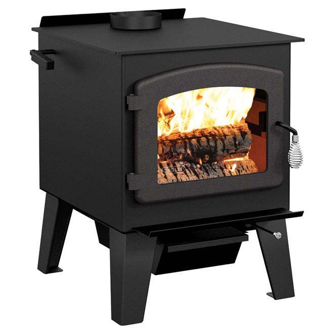 Steel Wood Stove - 90,000 BTU/h - 900-2,100 sq. ft. - Black