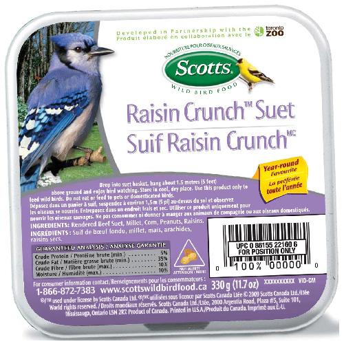 Suif pour oiseaux, Suif Raisin Crunch, 312 g