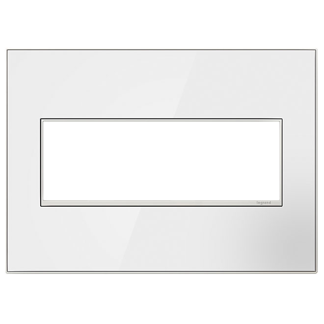 Wall Plate - 3-Gang - Glass/Steel - White