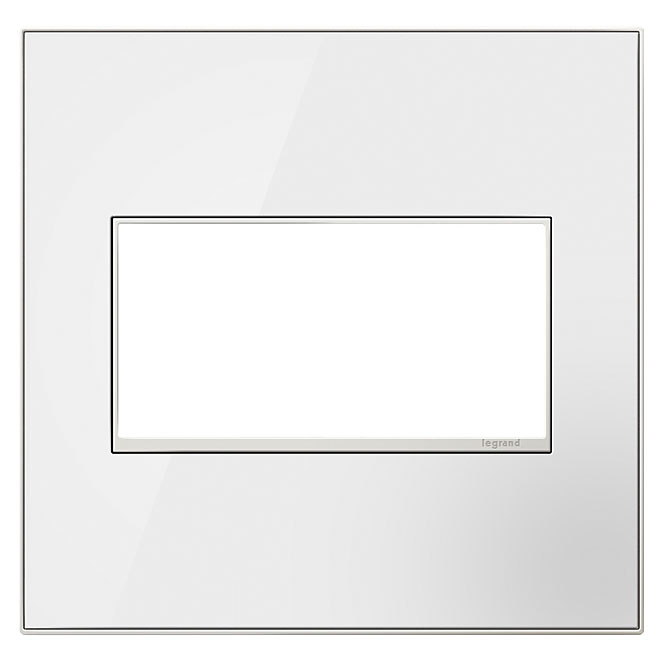 Wall Plate - 2-Gang - Glass/Steel - White