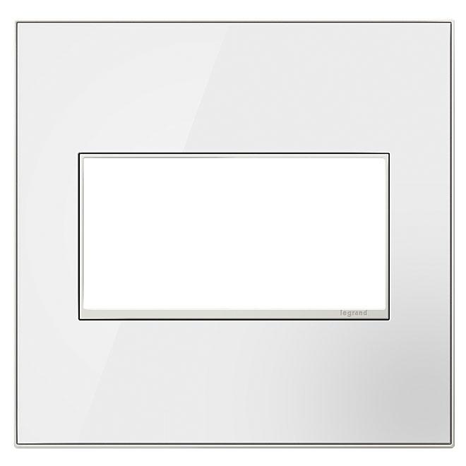 Plaque murale double, acier, blanc miroir