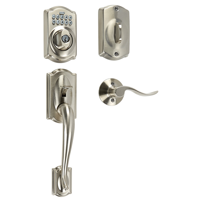 Electronic Handleset - Camelot Accent - Satin Nickel