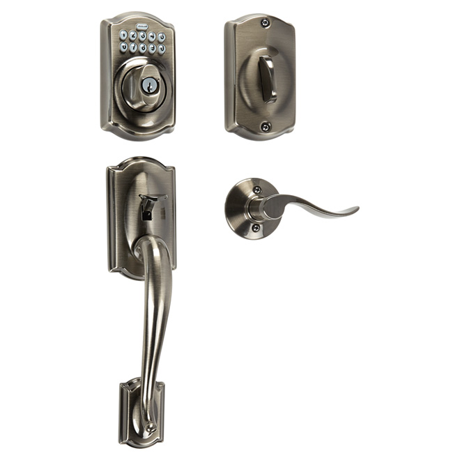 Electronic Handleset - Camelot Accent - Antique Pewter