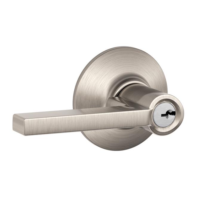 """Latitude"" Locking Entrance Lever - Satin Nickel"