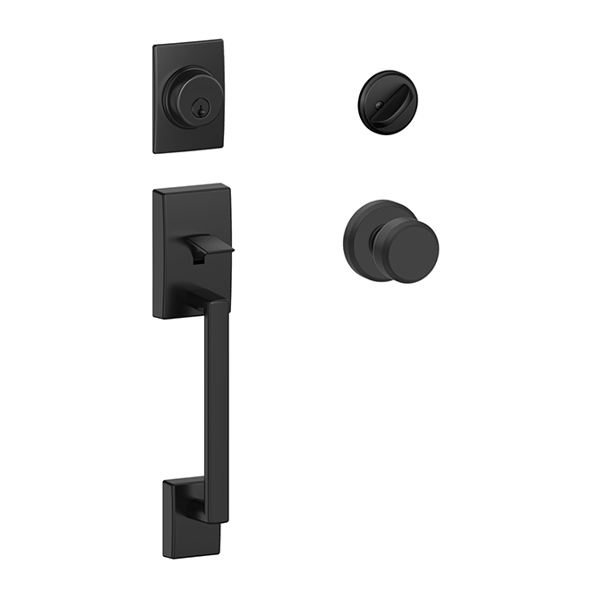 """Century"" Entrance Gripset with Deadbolt - Matte Black"