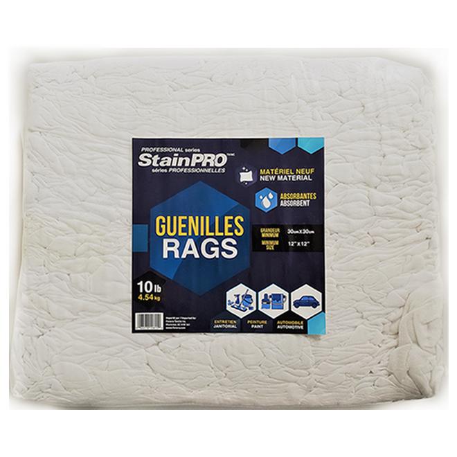Guenilles en coton Stainpro, 10 lb, blanc