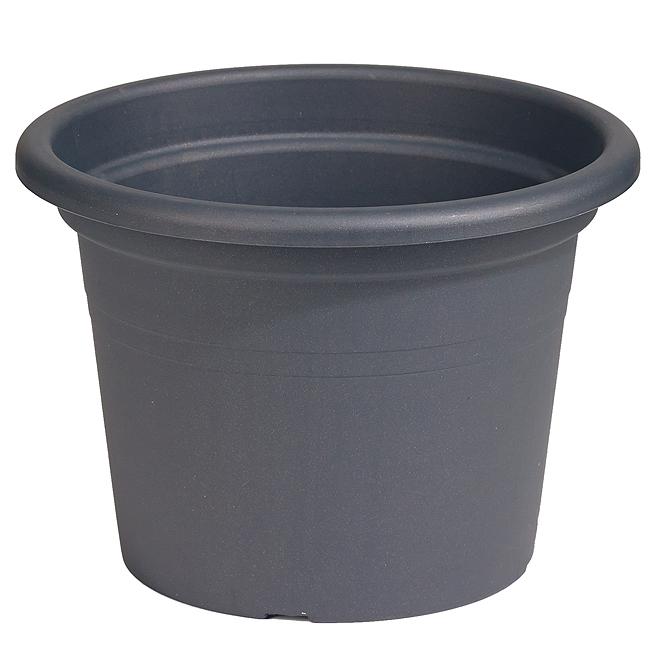 Jardinière ronde en plastique 10 po, gris anthracite