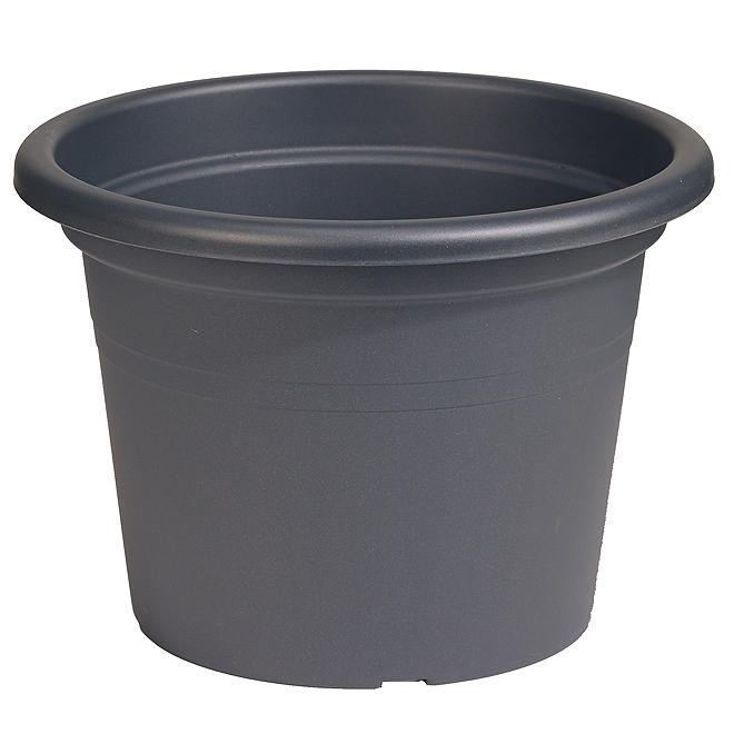 """Plastic Round Planter 12"""" - Anthracite"""