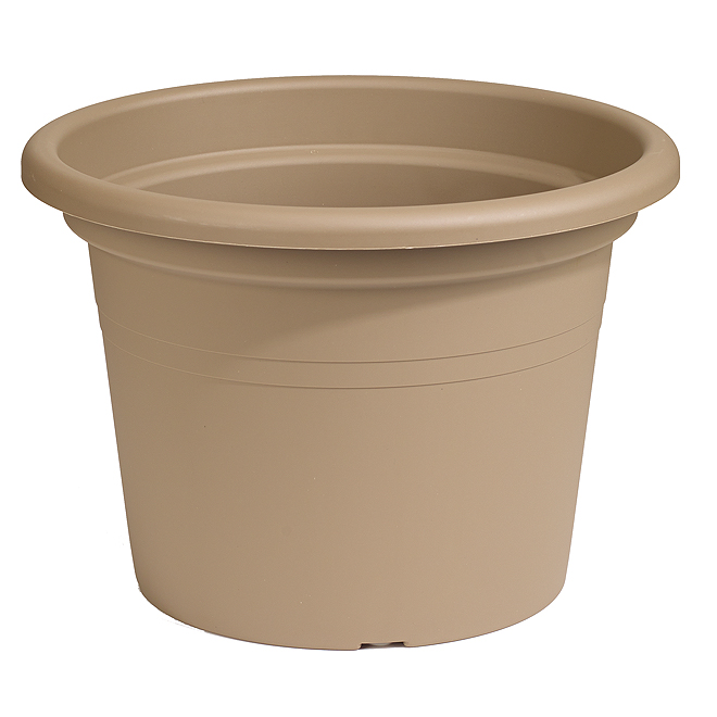 "Plastic Round Planter 14"" - Brown"
