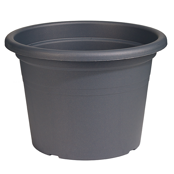Jardinière ronde en plastique 16 po, gris anthracite