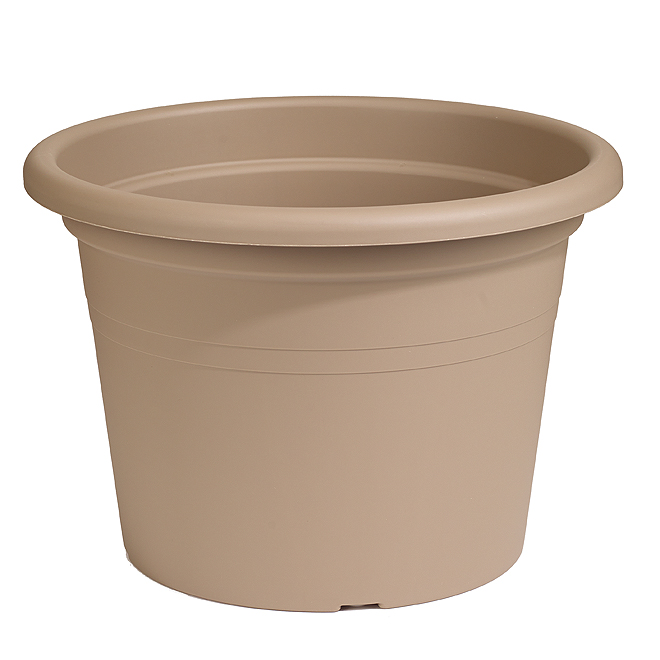 "Plastic Round Planter 16"" - Brown"