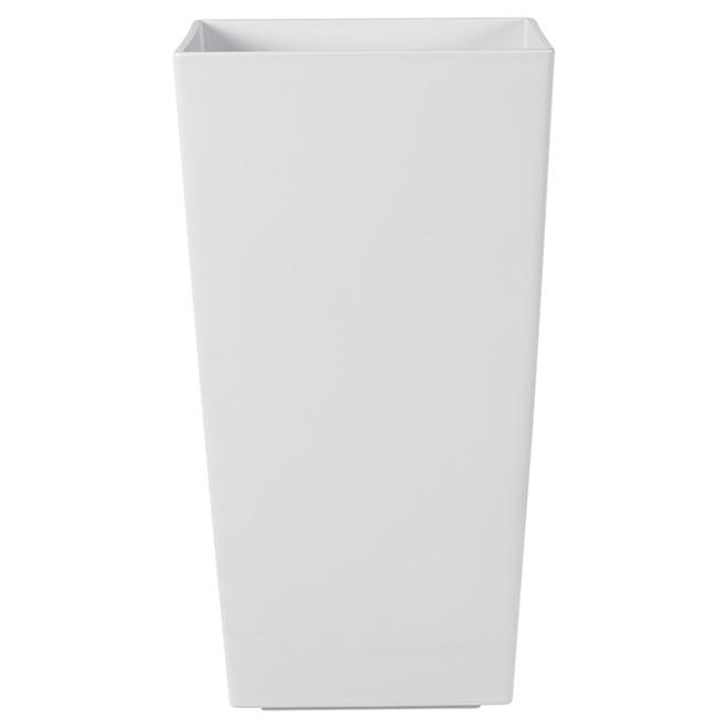 """Kubico"" Tall Plastic Planter 30"" - White"