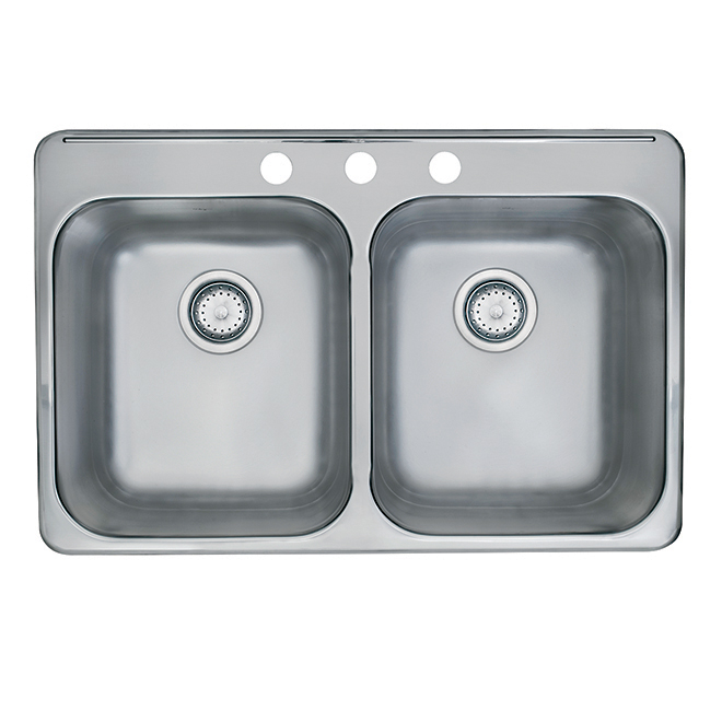 """Kindred Double Sink - 3 Holes - 20"""" x 31"""" x 7"""" - Stainless"""