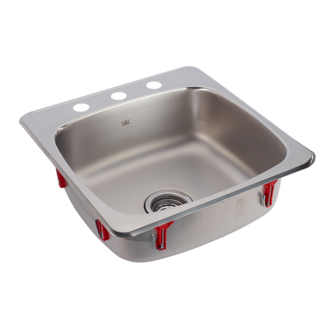 3-hole Single Sink - Stainless Steel - 20'' x 20'' x 7''