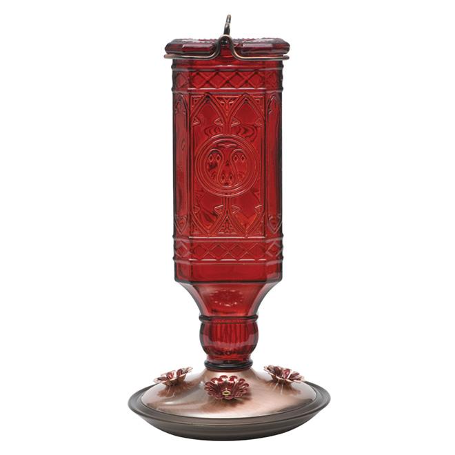 Hummingbird Feeder - Antique Bottle - 24 oz - Red