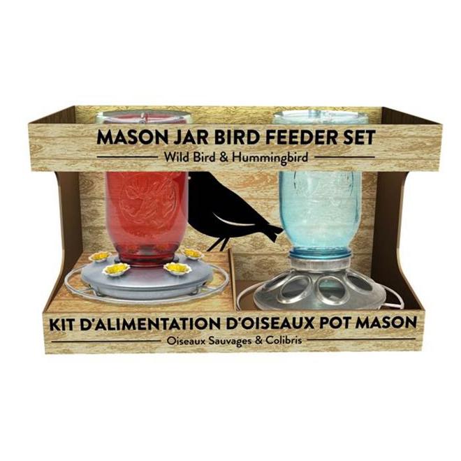 Duo de mangeoires à oiseaux de style pot Mason, rouge/bleu