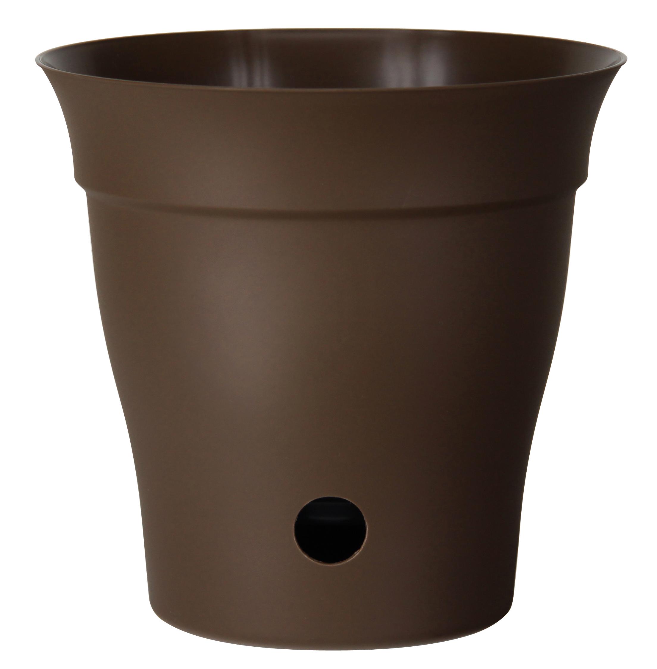 """""""Contempra"""" Pot with inside saucer - Chocolate"""
