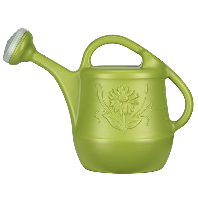 DCN Watering Can Floral Design - Plastic - 7.6-Liter - Green